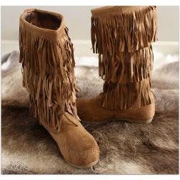 Frynse støvler - Mocca