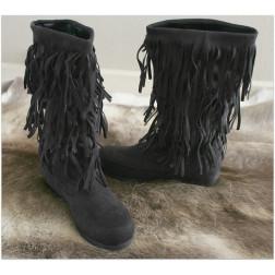 Frynse støvler - Sort