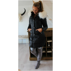Rock´N Blue Long beam - Sort med hvid faux fur