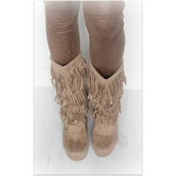 Frynse støvler - Beige